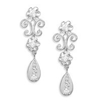 Rhodium Plated Cubic Zirconia Post Earrings with Scroll Design and Cubic Zirconia Drop