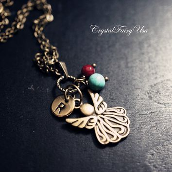 Butterfly Initial Name Necklace - Bronze Angel Necklace Turquoise Necklace Ruby Birthstone Retro Angel Wing Charm