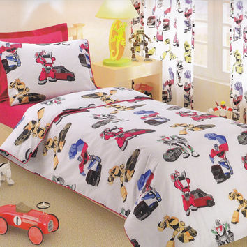 Transformers Bedding Set in Twin or Twin XL - Navy Blue, Yellow, Red Kids Bedding – 4-pcs Set of Duvet Cover, Flat Sheet, Sham & Pillow Case