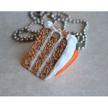 Carrot Cake Slice Dessert Necklace, Polymer Clay