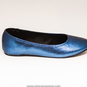 Glitter Navy Blue Ballet Flat Slipper Custom Shoes