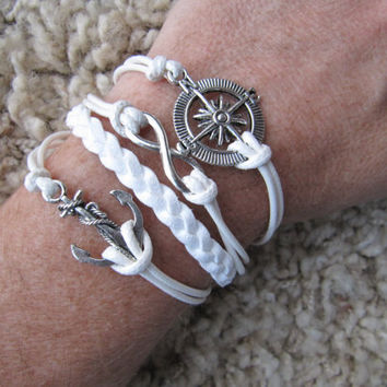 Made in the USA - Compass Nautical Anchor Karma Infinity White Friendship Charm Bracelet