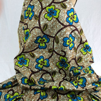 Nigerian Fabric--African Wax Print Fabric--Ankara Fabric--Brown Vines with Lime Green and Turquoise Flowers--African Fabric by the HALF YARD