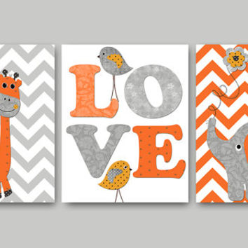 Bird Elephant Nursery Giraffe Nursery Baby Nursery Decor Girl Baby Boy Nursery Art Kids Wall Art Kid Art Nursery Print set of 3 Gray Orange/