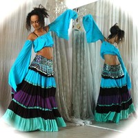 Belly dance Costume set TALIKA - turquoise black purple aqua Gypsy style costume - full skirt with beaded belt and matching top