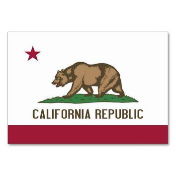 Patriotic table card with Flag of California
