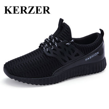 KERZER Mens Athletic Shoes Running Sneakers Spring/Summer Walking Jogging Shoes Mesh Sport Trainers Black Gray Mens Runners