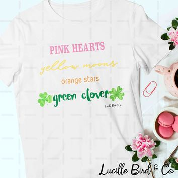 Pink Hearts Green Clover St. Patrick's Day Graphic Tee