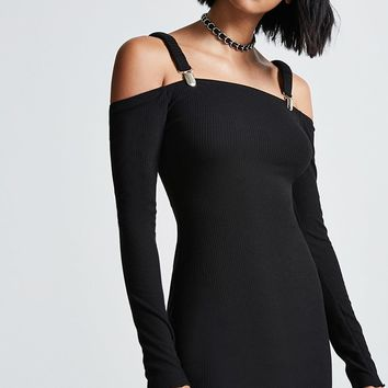 Ribbed Open-Shoulder Dress