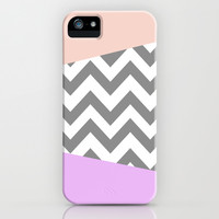 gray, purple, and coral chevron iPhone & iPod Case by Hannah