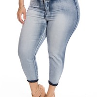 On Trend Til the End Plus Size High Waist Bleached Jeans - Blue