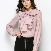 Pink Bow Tie Front Ruffle Detail Long Sleeve Shirt