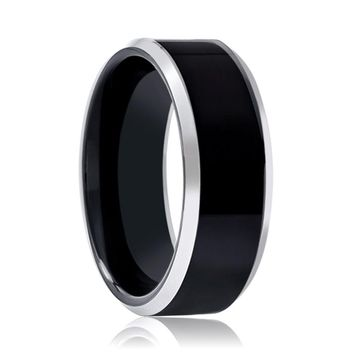Aydins Tungsten Ring Black Shiny Polished Silver Beveled Edge Wedding Band 8mm Tungsten Carbide Wedding Ring