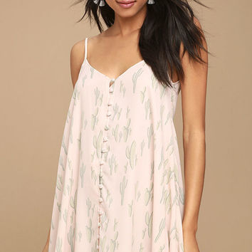 Succulent Sensation Blush Pink Cactus Print Swing Dress