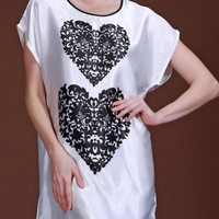 Casual Heart Printed Satin Nightgown