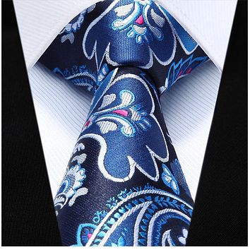 Blue Floral Necktie Pocket Square