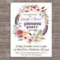 Housewarming Invitation Printable Watercolor Flower, feather Key Housewarming Party Invite Digital New Home Announcement Purple Blush Maroon