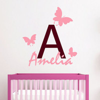 Butterfly Wall Decals Custom Monogram Girl Personalized Name Vinyl Decal Sticker Interior Design Mural Kids Nursery Baby Room Decor KG839