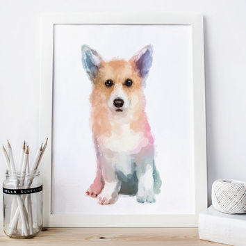 Corgi Print dog corgi Watercolor corgi Painting dog nursery print, nursery corgi decor,  corgi printable corgi artwork, dog printable