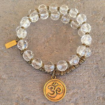 Genuine Rock Crystal 27 Bead Wrap Mala Bracelet with Om Charma