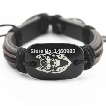 Cool Boy Men's Resin Carved Totem Wolf Bracelets Friendship ID Leather Bracelet Bangle Gift YB22