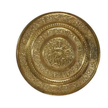 Brass Wall Plate Hindu God Shiva Lord Nataraja Dancing India Decor Gold Platter Tray Embossed  Vintage Art Kooththan