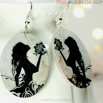 Silhouette Romantic Girl Oval Earrings Cream & Black  Dangle Jewelry 2-sided , gift for her under 25