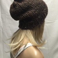 Knit Slouchy Hat Beanie Brown Tweed Warm And Cozy