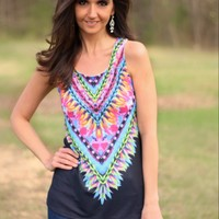 12PM by Mon Ami Black Tank Top with Colorful Aztec Print on Front and Back