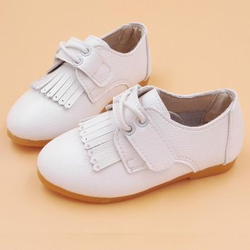 Casual Leather Children's Shoes Princess Tassel Style Flat Baby Shoes For Girls Pink White Cute Kids Boat Shoe