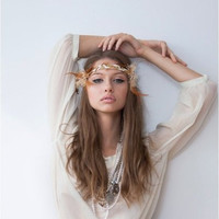 Gold & White Hippie Feather Goddess Headband by NatandEli on Etsy