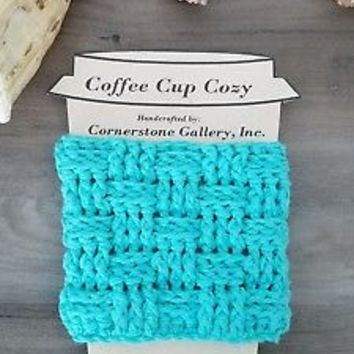 Turquoise Green Coffee or Tea To Go Cup Mug Cozy Sleeve Beverage Insulator