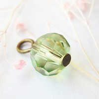 Add On Charm Light Green Fire Polished Crystal Bead Dangle Peridot