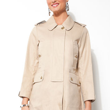 Coach Ladies Balmacaan Khaki Overcoat - Size Extra Small