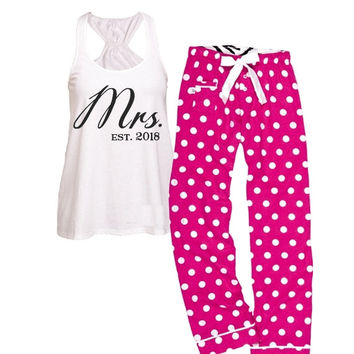 Mrs / Est. Flare Tank and Fuchsia Polka Dot Pajama Set