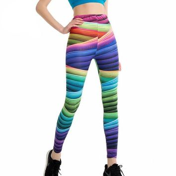 Candy Colors Striped Print Leggings Slim Workout High Waist