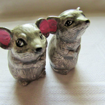 Vintage Mice Small Gray Ceramic Pink Ears