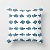 Kissing Betta Fish Throw Pillow by Cindy Lou Bailey