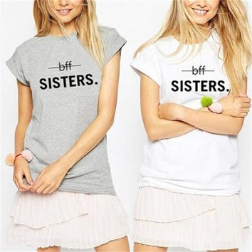 BFF Sister Couples Shirts Best Friends Cotton Tshirt Feminina Women Clothes Summer 2018 Tee Tops Female T-Shirt Printed