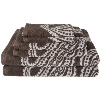 6-Piece Soft. 100% Cotton Bath Towel Set in Charcoal White Paisley