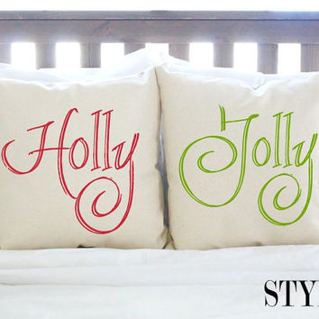 "4 Styles - Pair of Christmas Decor Pillows - ""Holly Jolly"""