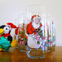 Set of 6 Coca Cola Classic Christmas Glasses, Classic Coke Holiday Glasses, Vintage McCrory Santa Glasses, Coca Cola Santa Tumblers