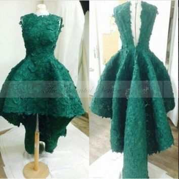 Emerald Green Lace High Low Prom Dresses 2017 Vestido de Festa Curto Short Front Long Back Homecoming Party Dress Robe dentelle