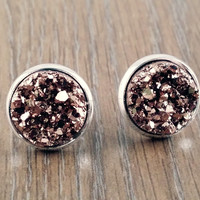 Druzy earrings- rose gold drusy silver tone stud druzy earrings