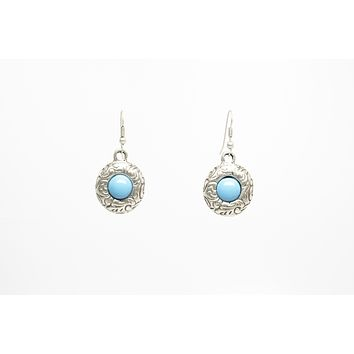 Turquoise Stone Silver Plated Dangle Earrings with Antique Look