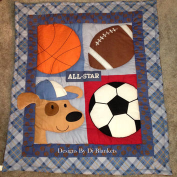 Baby Blanket Quilt Sports Puppy Flannel Minky Patchwork Back. Boy Nursery bedding