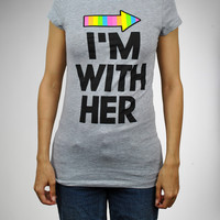 'I'm With Her' Rainbow Arrow Junior Fitted Tee