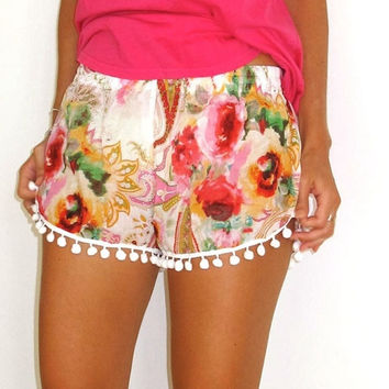 Hawaii Style Floral Printed Ball Tassel Elastic Waist Beach Shorts Pants S-XL = 5618520193