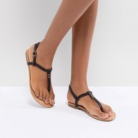 Boohoo Plaited T Bar Flat Sandals at asos.com