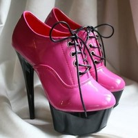 15cm Platform Exotic Dance Fetish Oxford Lace Up Stiletto Hi Heel Boot Hot Pink
